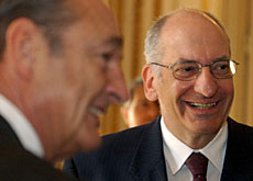 Couchepin (right) discussed G-8 summit security with French president, Jacques Chirac in March.