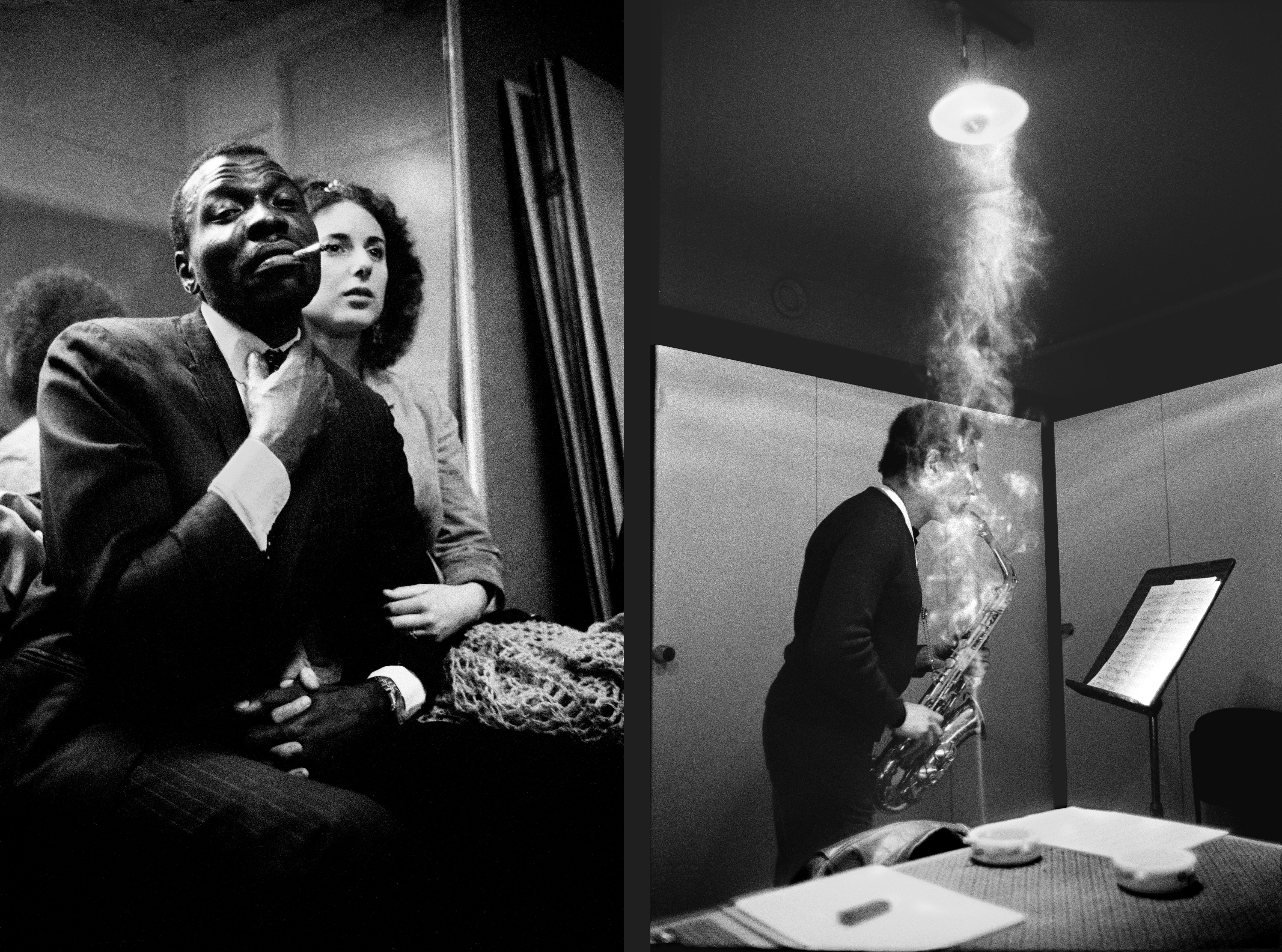 The American drummer Elvin Jones with dancer Roberta Escamilla Garrison,1968 (left) and saxophonist Jimmy Lyons in his dressing room, 1981.