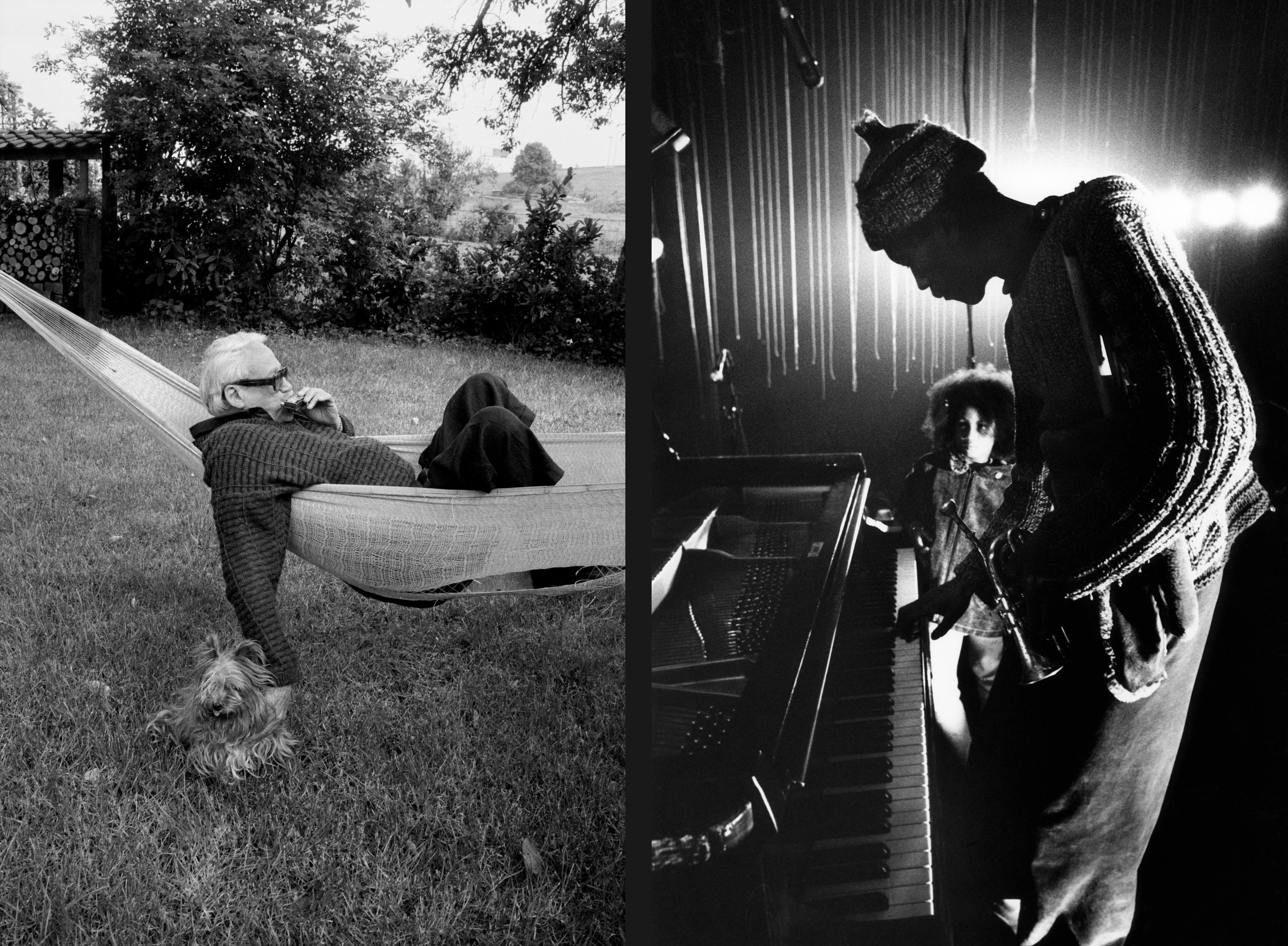 "Toots Thielemans (harmonica and guitar) at home with his dog ""Duke"", 1990 (left) and Don Cherry (trumpet)  with his stepdaughter Neneh Cherry, 1969."