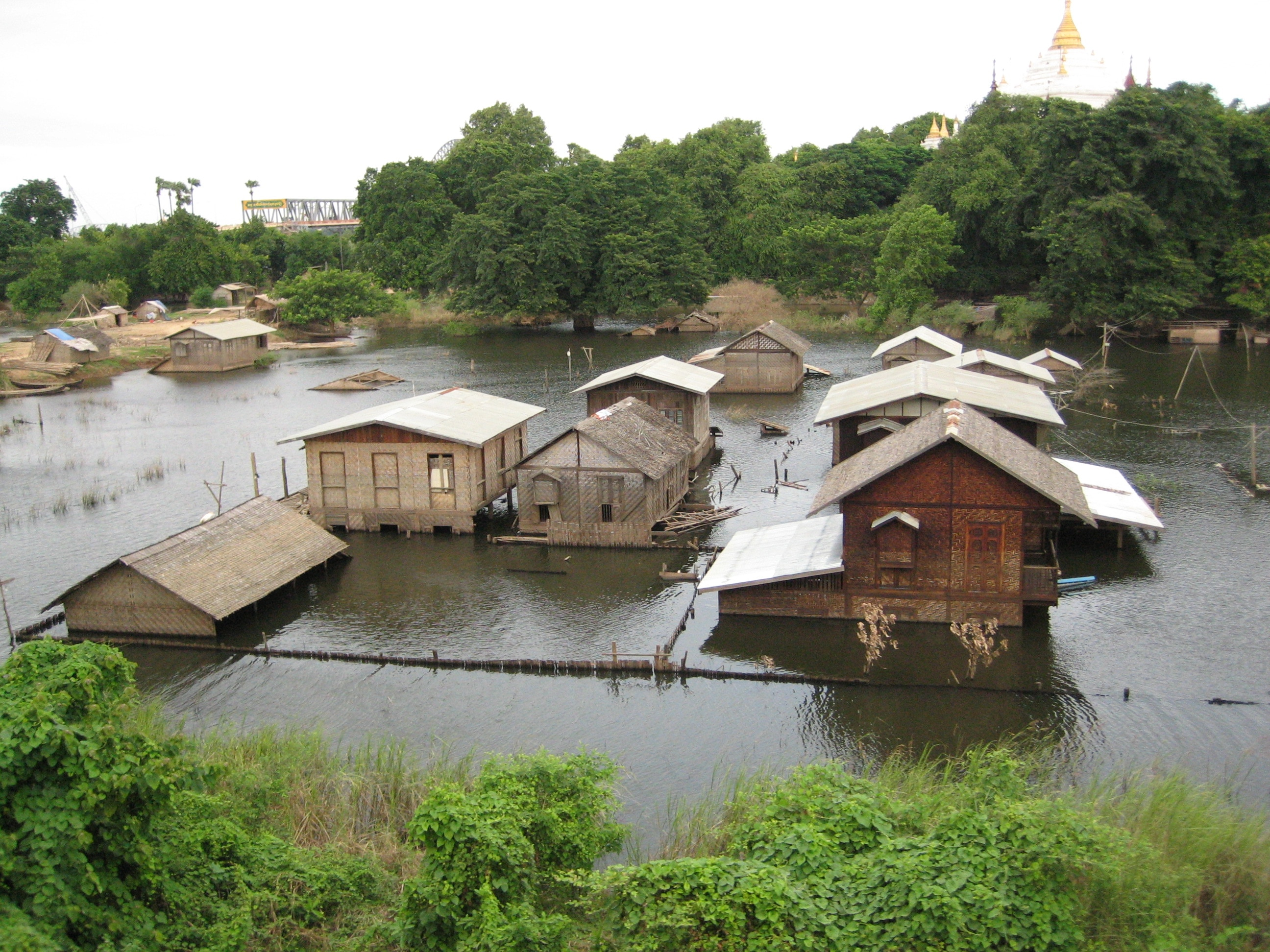 A flooded village in Mandalay, Myanmar.