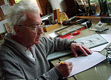 Adrian Frutiger in his Bernese workshop