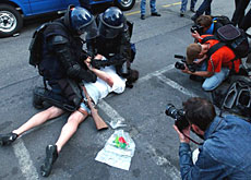 Arrests during the anti-G8 protests in Geneva