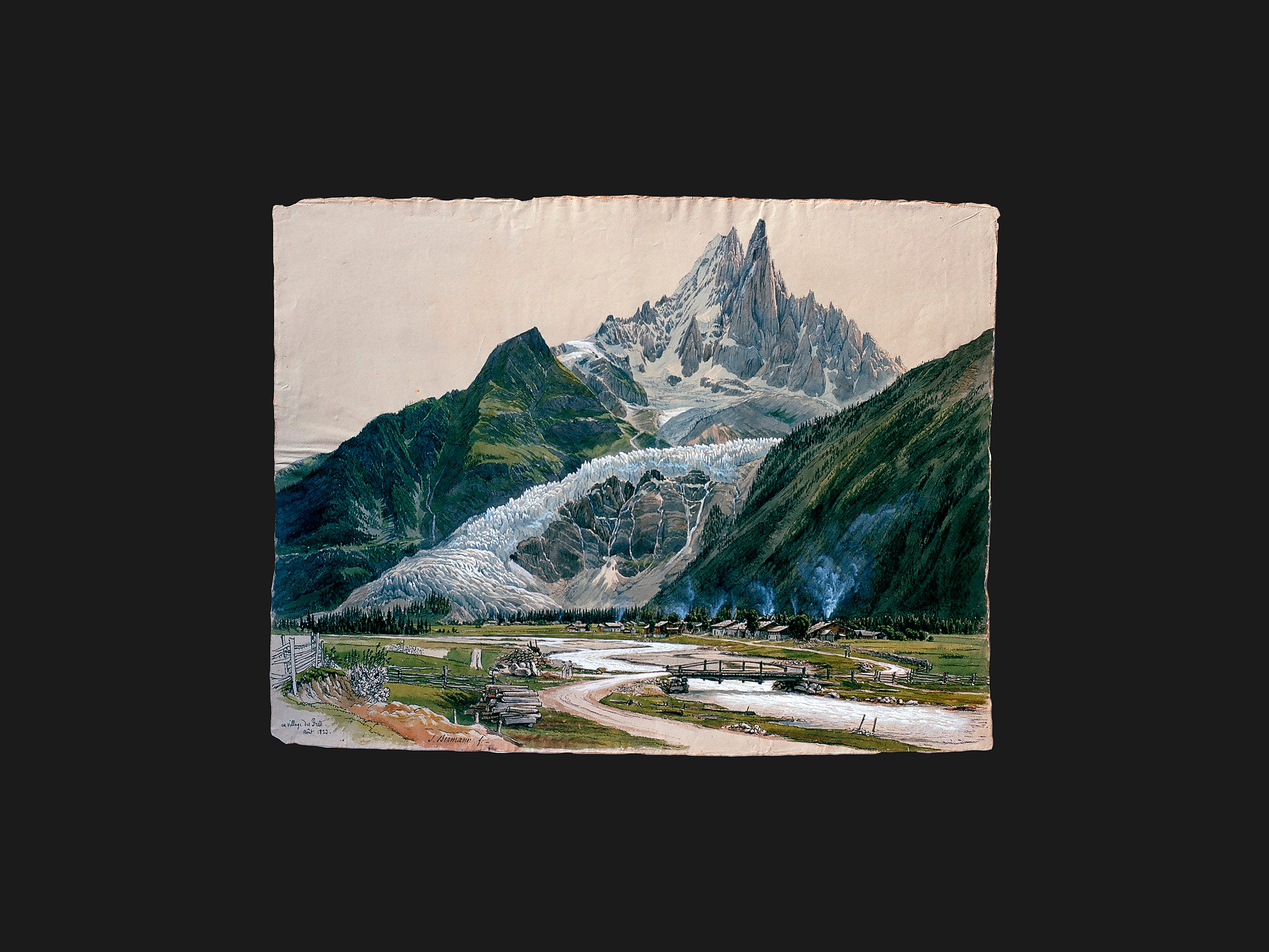 The Mer de Glace on the Mont Blanc massif in France drawn by Samuel Birmann in August 1823. For researchers, the quality of such drawings is comparable to that of photographs. (Kupferstichkabinett, Kunstmuseum Basel)