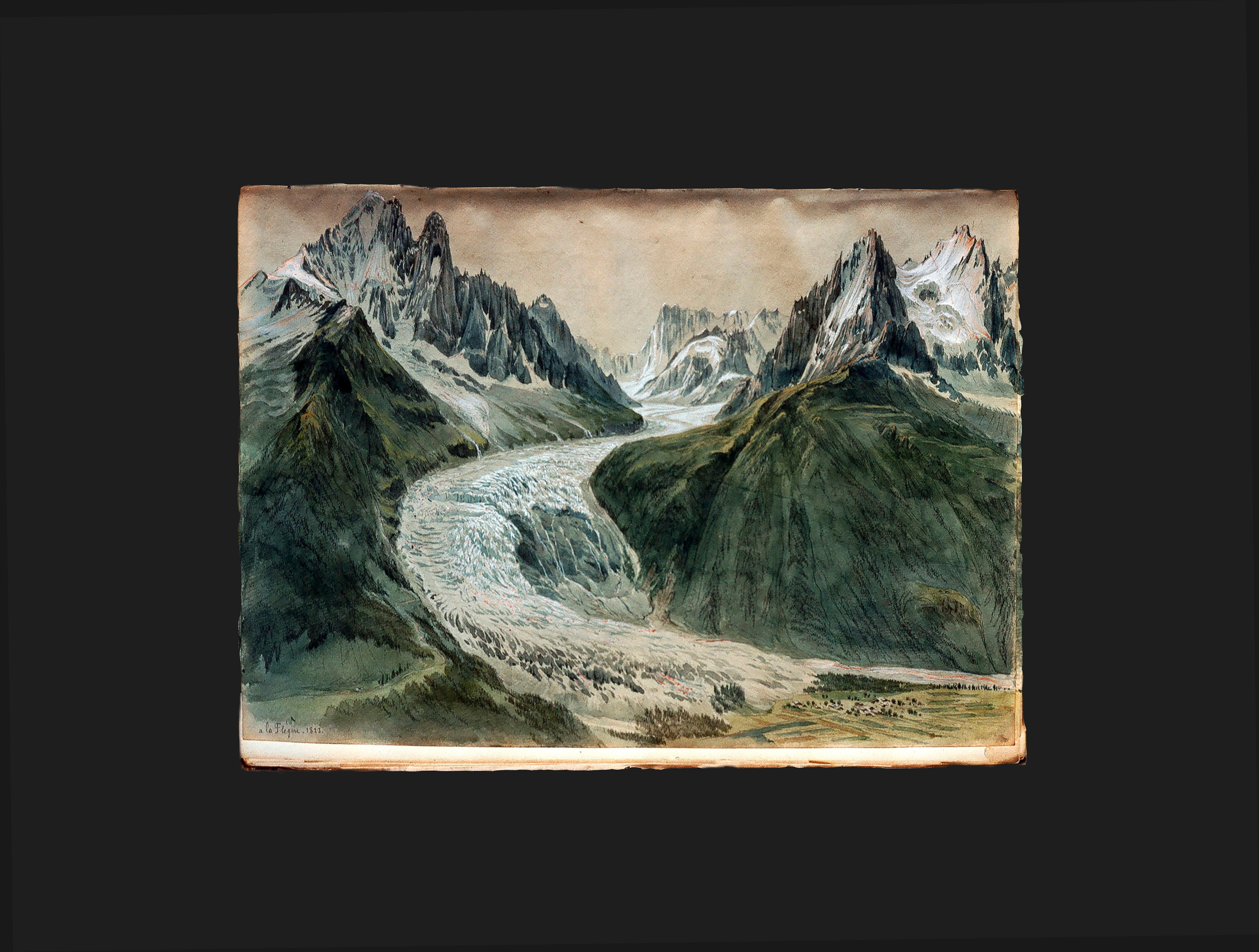 The Mer de Glace portrayed by Samuel Birmann in 1823 from La Flégère. (Kupferstichkabinett, Kunstmuseum Basel)