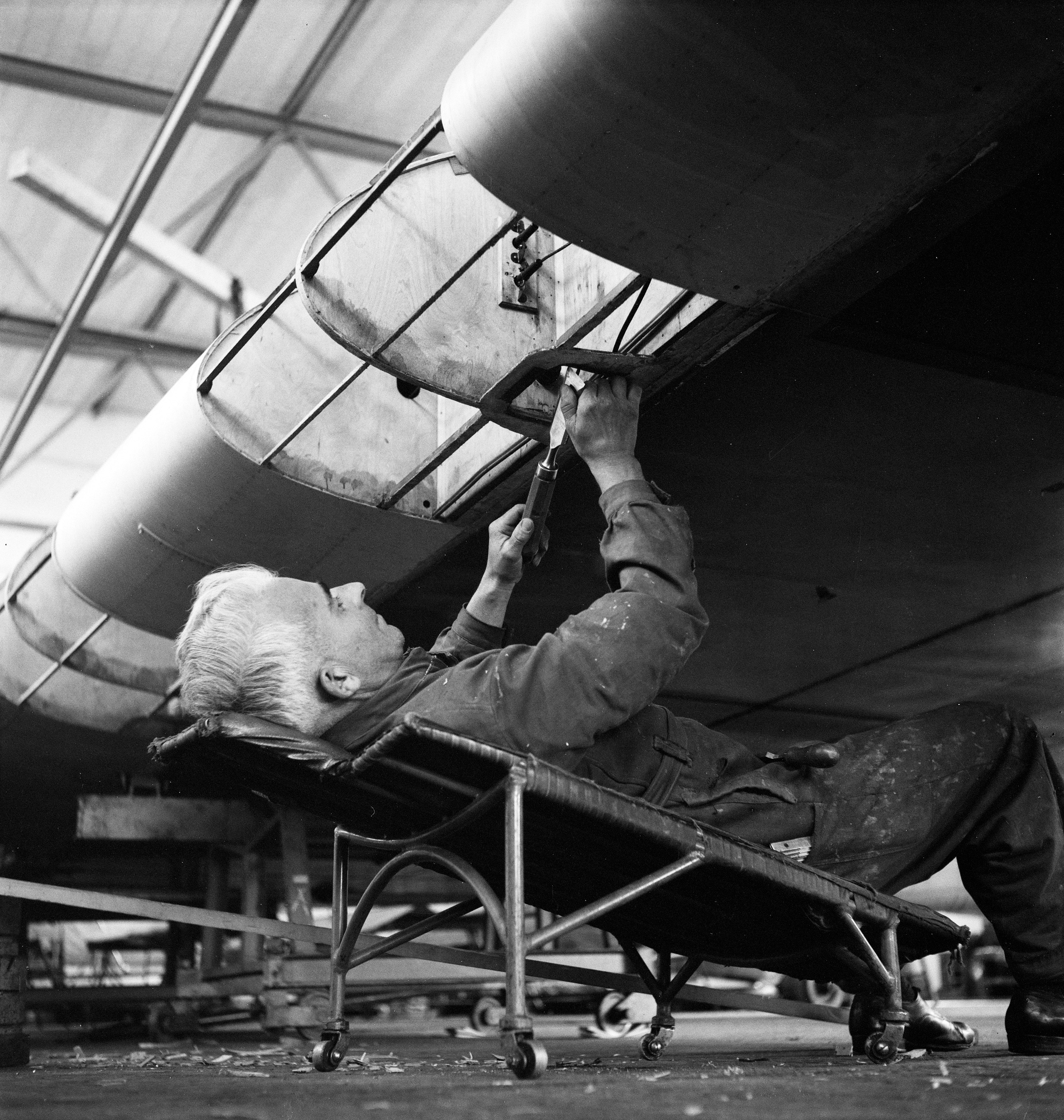 Repairing a wing at a hangar at Dübendorf in the 1930s