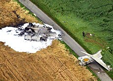 An overhead view of the crashed Tupolev passenger jet in southern Germany.
