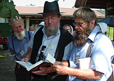 The Amish take a break from the tour to sing the Haslibacher hymn