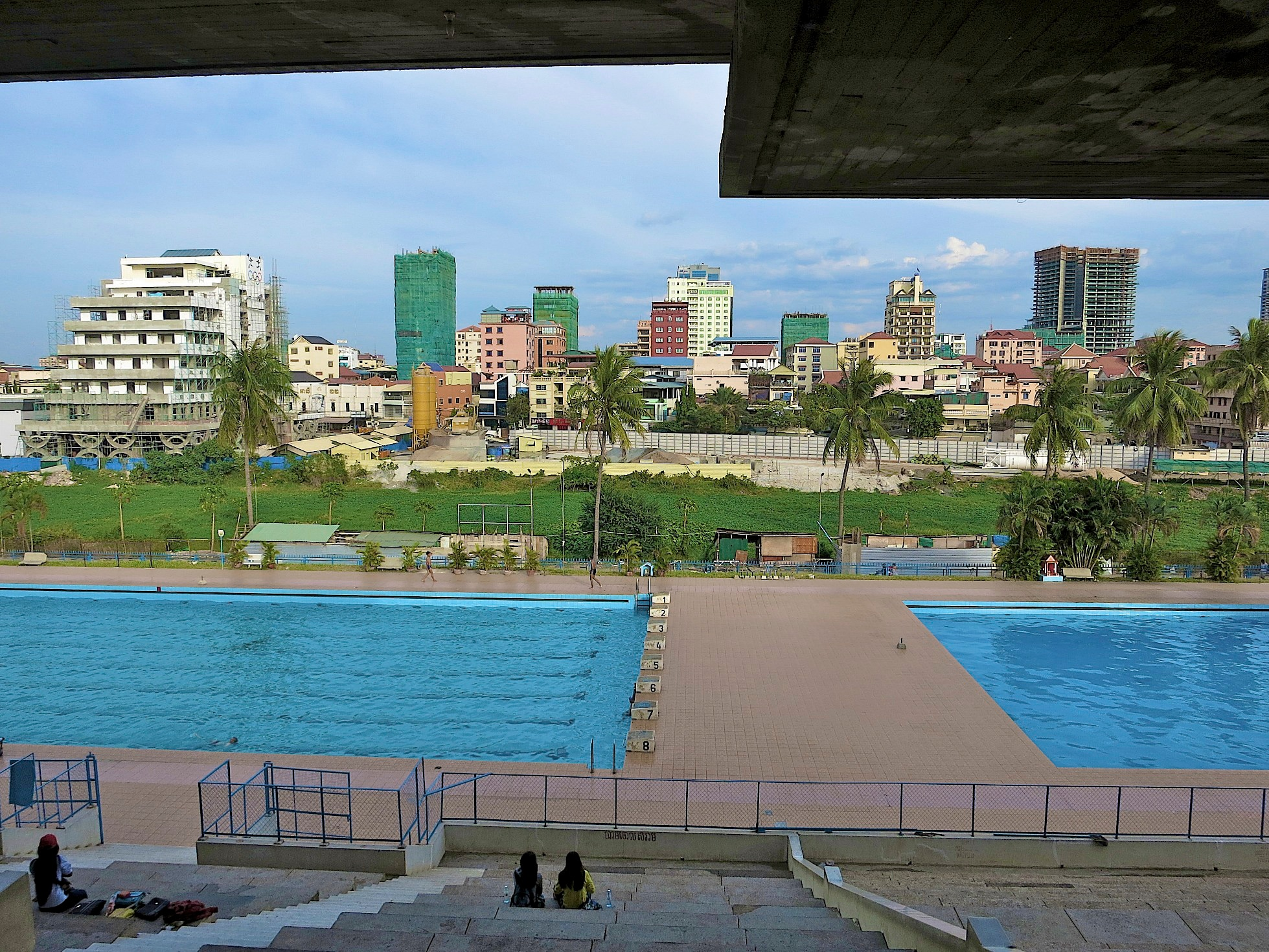 An Olympic-sized swimming pool makes up part of the stadium.