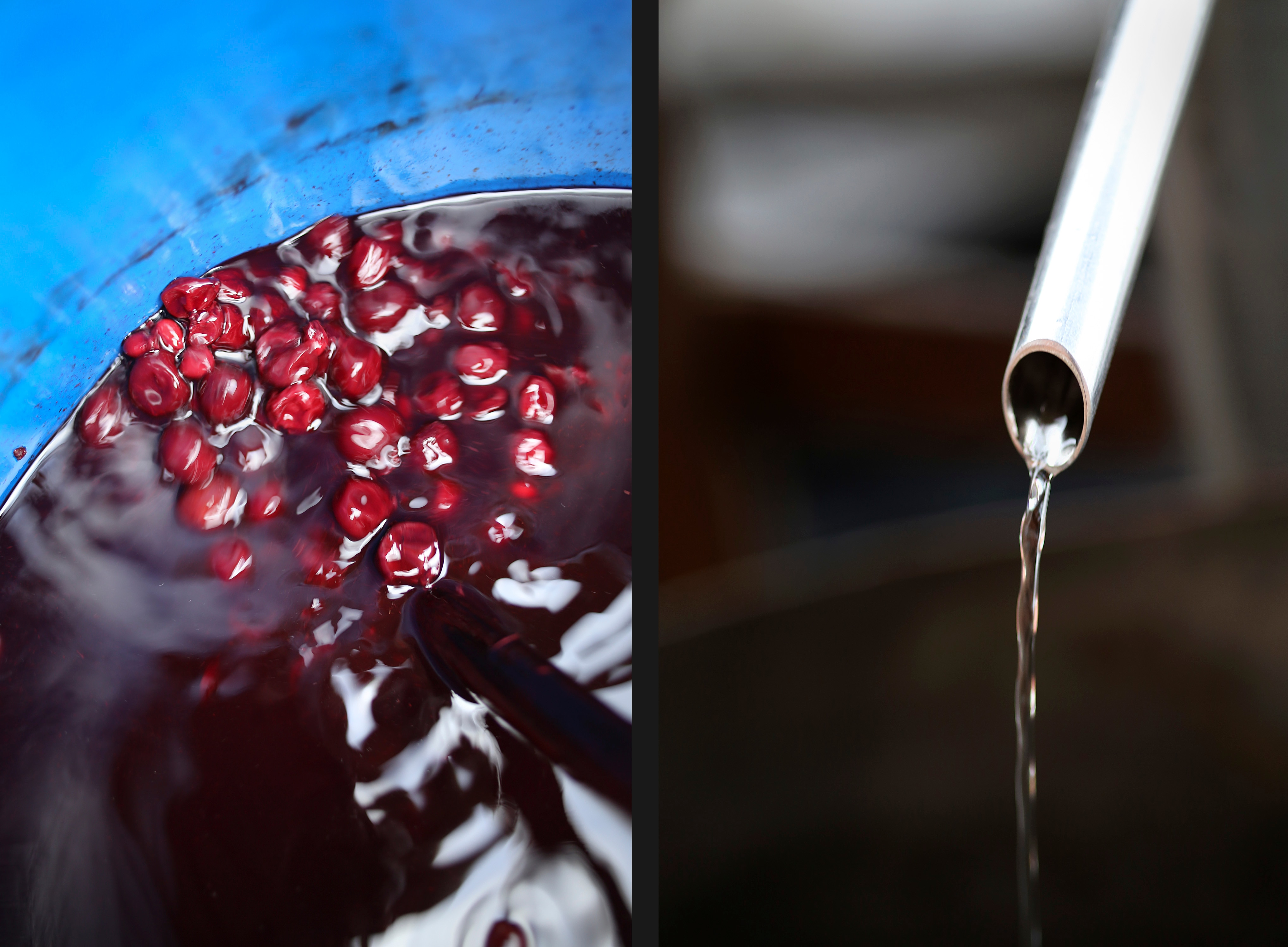 Fermented cherries in a barrel before the distillation process (left), and what comes out at the end (right)