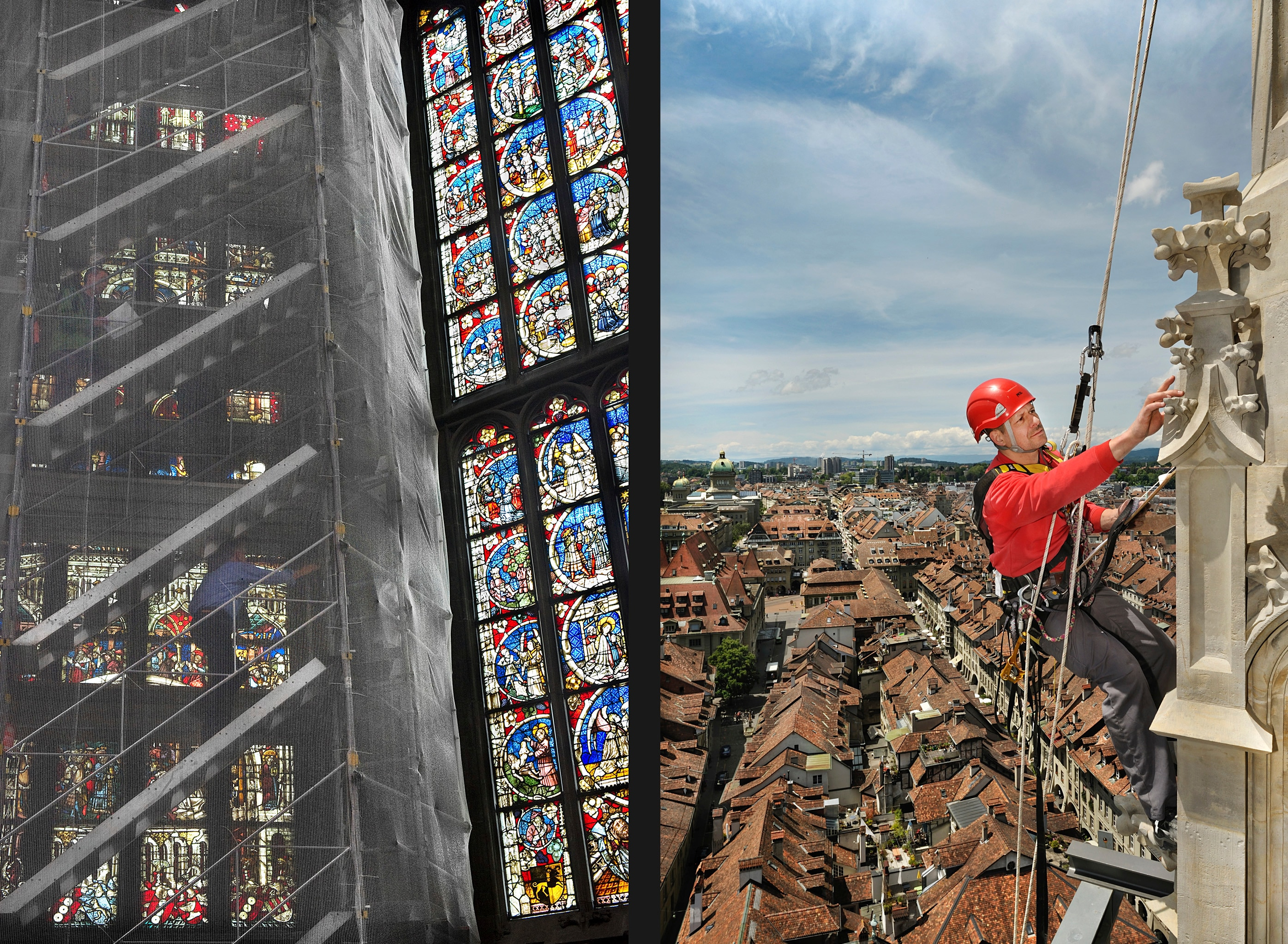 Scaffolding in the choir for the restoration of the windows and ceiling (l); working on the spire (r).