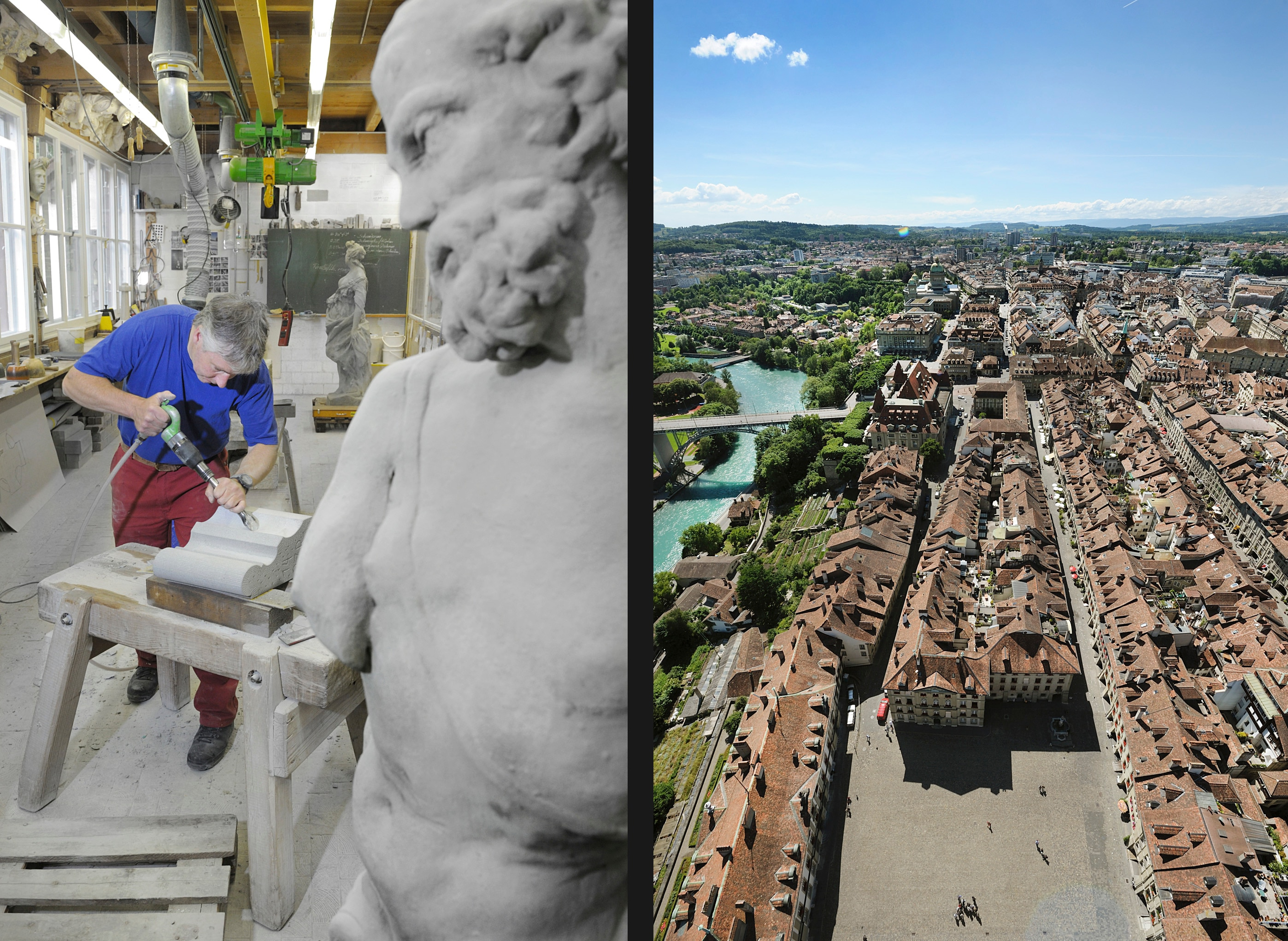 Completing a substitute stone for the spire (l); view of the cathedral square (r).