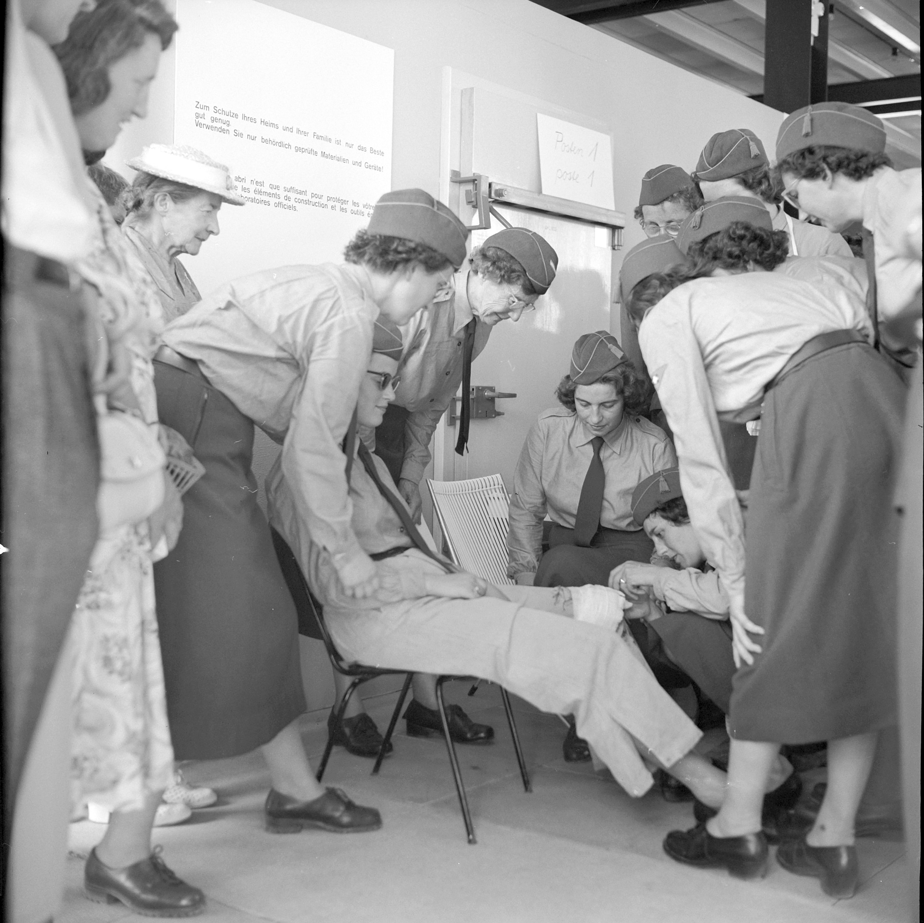 Female soldiers, who were in a supporting role rather than engaged in combat, give a demonstration