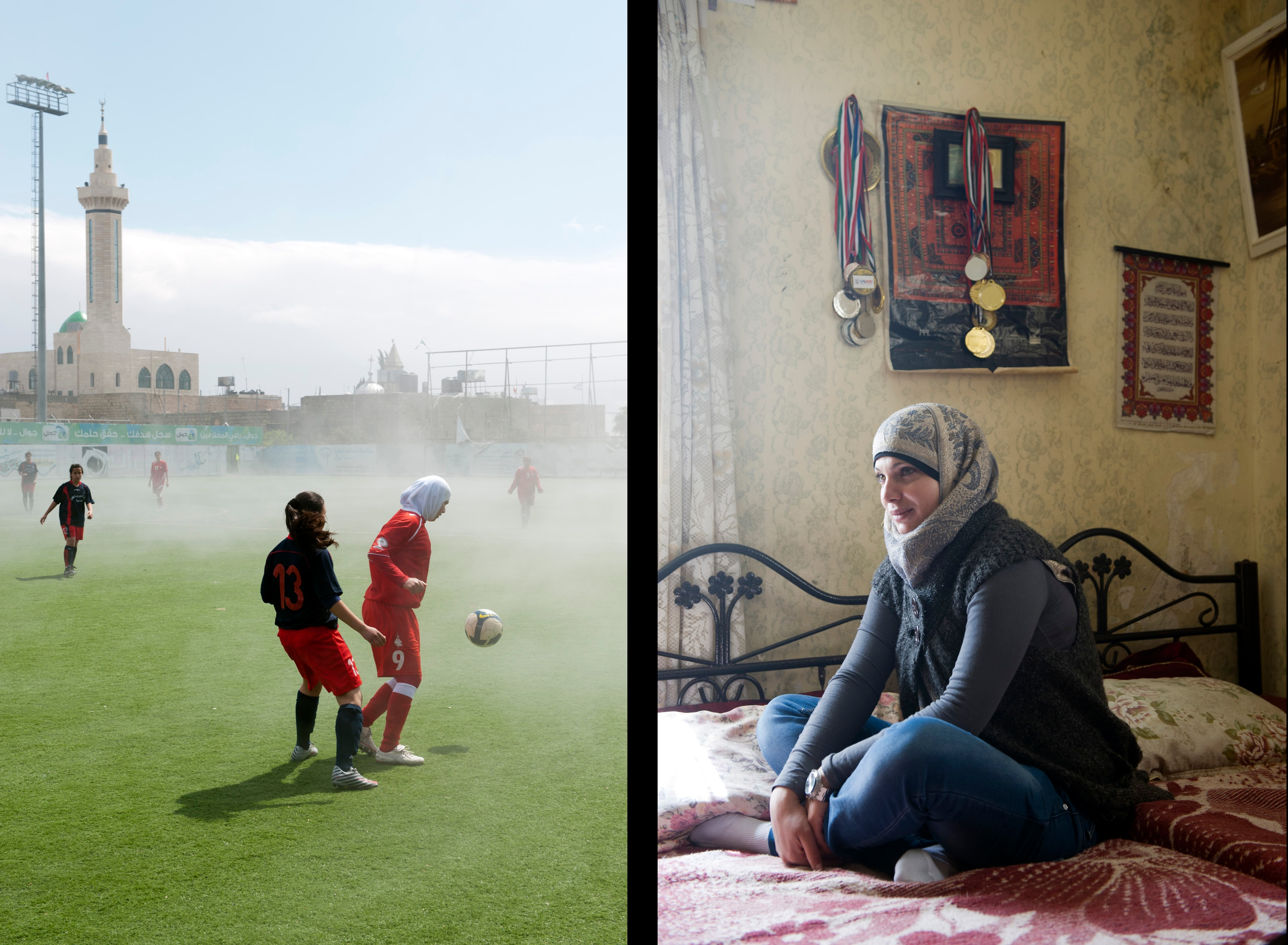 Diyar Bethlehem during a championship match against their rival Esawiyeh (left).  Nivin al-Kolyab (right), a striker of Diyar Bethlehem and the Palestinian National Team in her bedroom, which she shares with her sister Nadin, the team's goal keeper. The wall decorated with medals they both won with their team.
