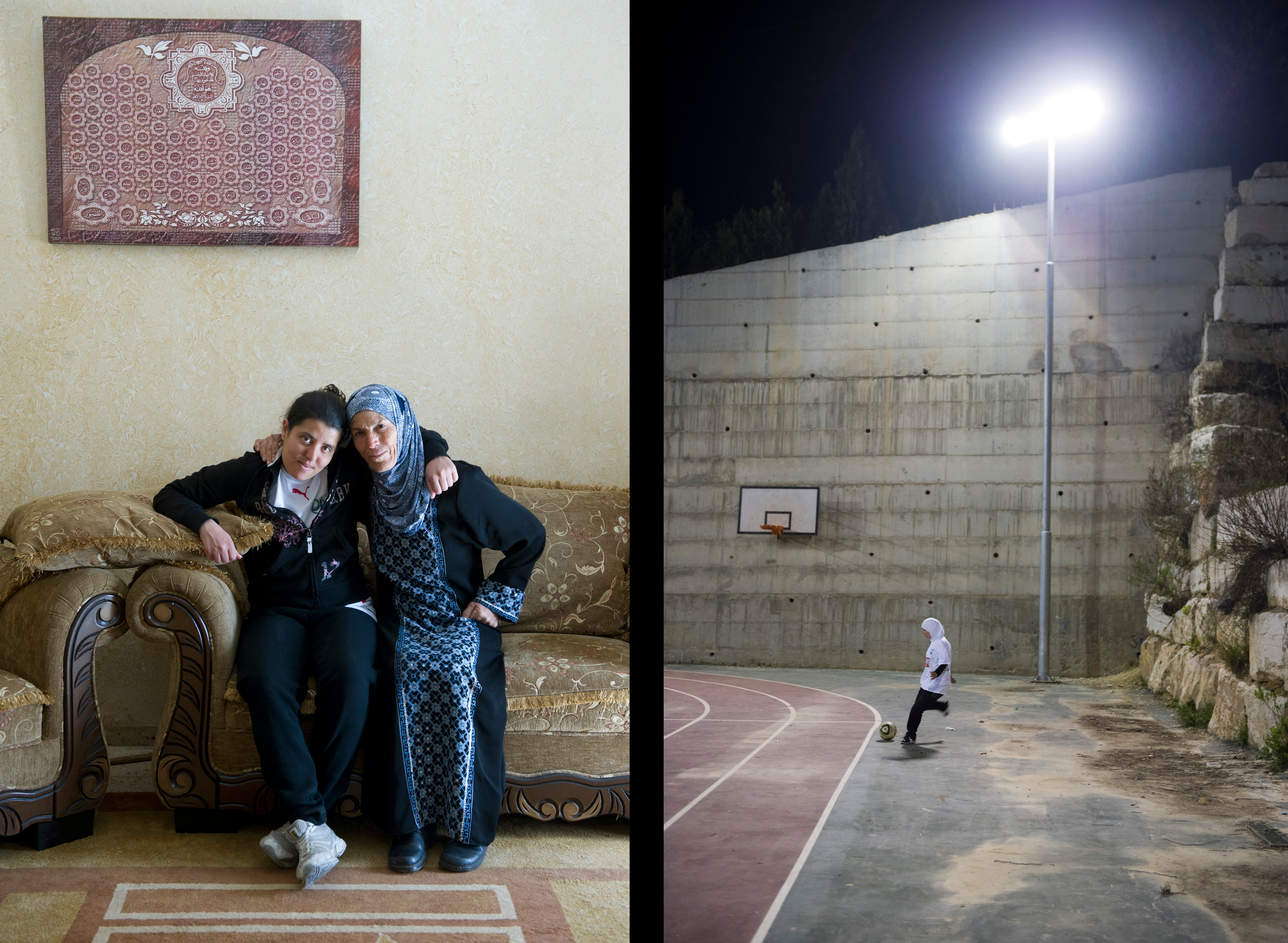 Sarab al-Shaer with her foster mother (left). She was raised in a village for orphans near Bethlehem. Sarab is a Muslim and defender for Diyar Bethlehem and the Palestinian National Team. Nivin al-Kolyab kicking a corner during a training session (right).