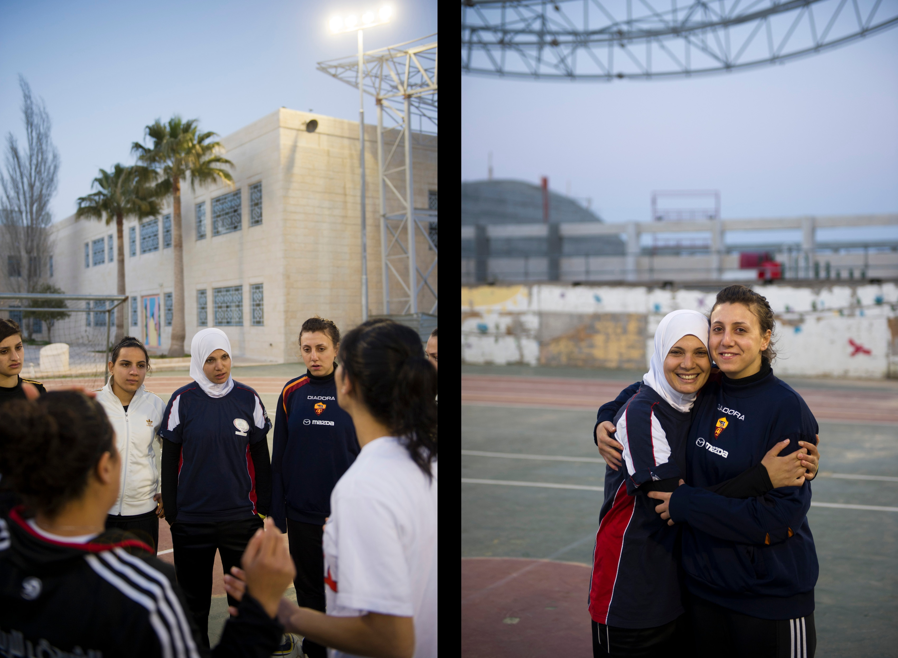Players of Diyar Bethlehem during an evening training session (left), and Nivin and Nadin al-Kolyab, one of the strikers and the goal keeper of their team. Although both are Muslim, only Nivin is wearing the headscarf.