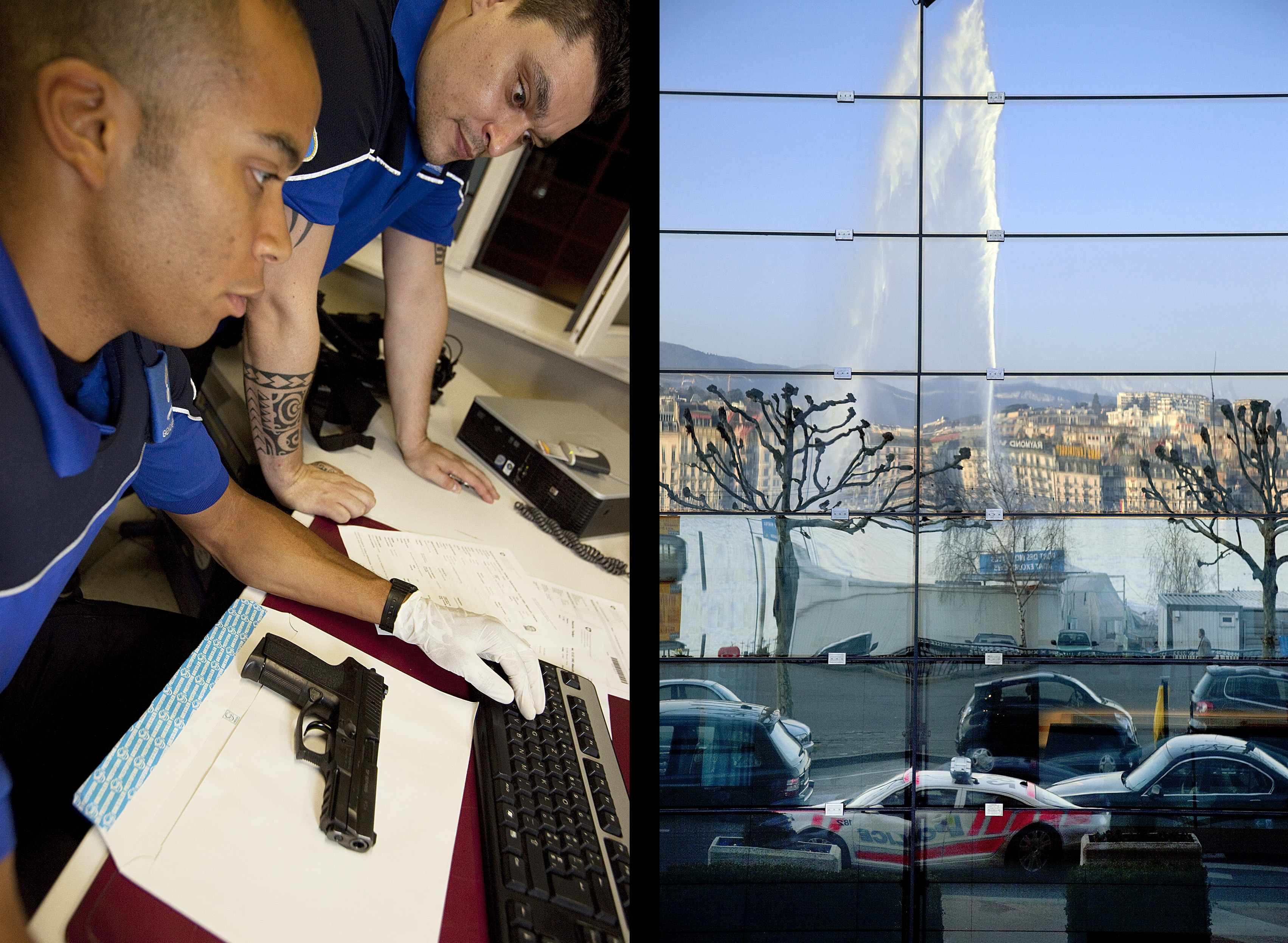 Two officers check the identity of a man arrested in possession of a handgun without a licence (l), and a view of the Geneva Fountain and a police car reflected in the glass facade of the Grand Hotel Kempinski.