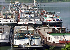 Barges blocked near a lock on the Rhine in eastern France