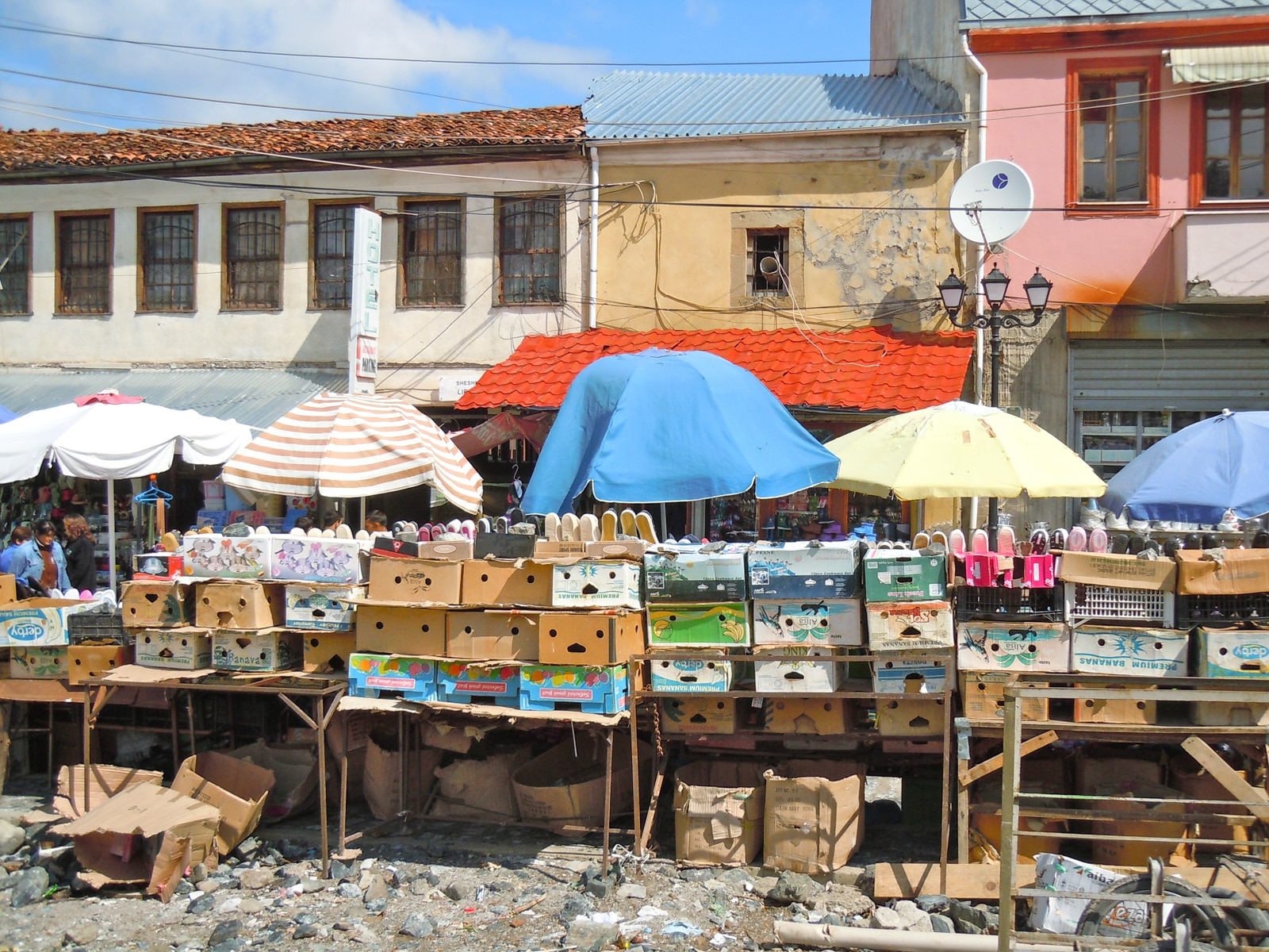 The market in the southeast Albanian town of Korça offers almost everything, from shoes and clothes to cosmetics, food and old TVs, bikes and CDs.