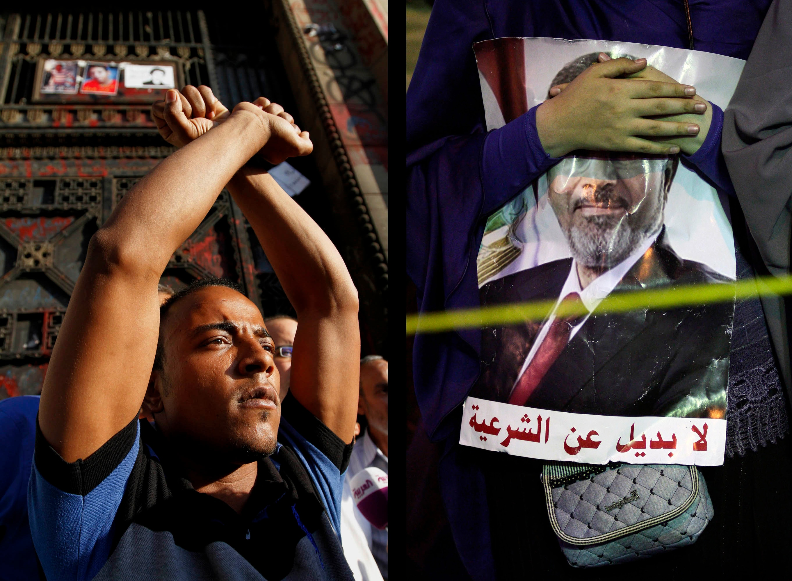 "Sabry Khaled  Left: Protest at the high court calling for the release of detained activists on May 5, 2013. Right: A supporter of ousted President Mohamed Mursi prays in Nasr City on the first day of Ramadan. The poster reads: ""No substitute for legitimacy"". July 9, 2013"