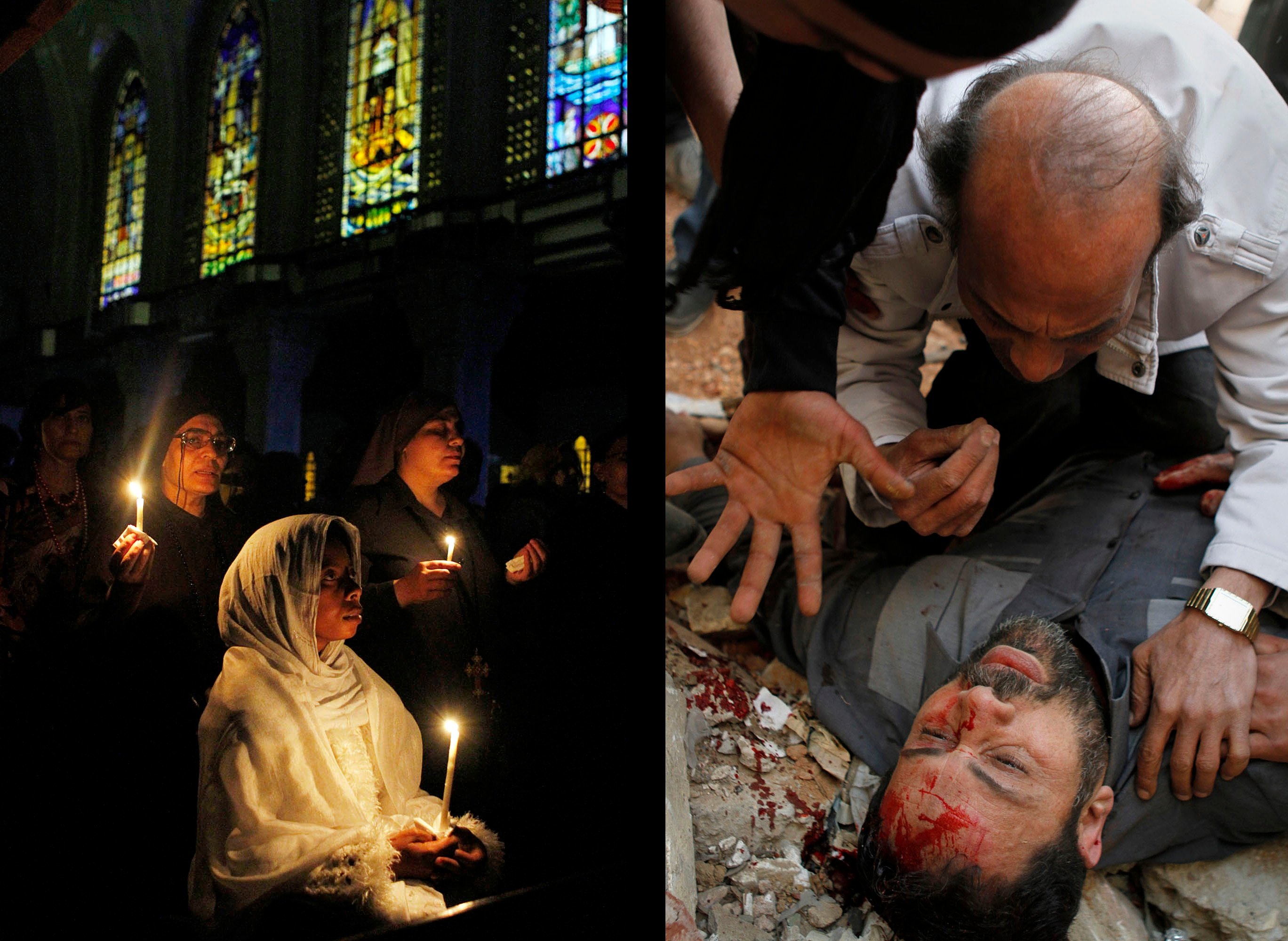 Sabry Khaled  Left: Ethiopian and Egyptian Copts perform the Easter Mass at St. Mark's Cathedral in Cairo on May 4, 2013. Right: A fatally wounded supporter of the Muslim Brotherhood during clashes just outside the Islamist group's headquarters in Cairo. March 22, 2013