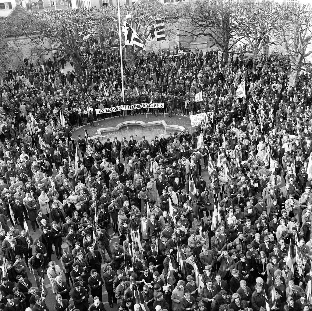 1965年,汝拉人在德莱蒙举行了反对伯尔尼州的游行。  (Keystone)