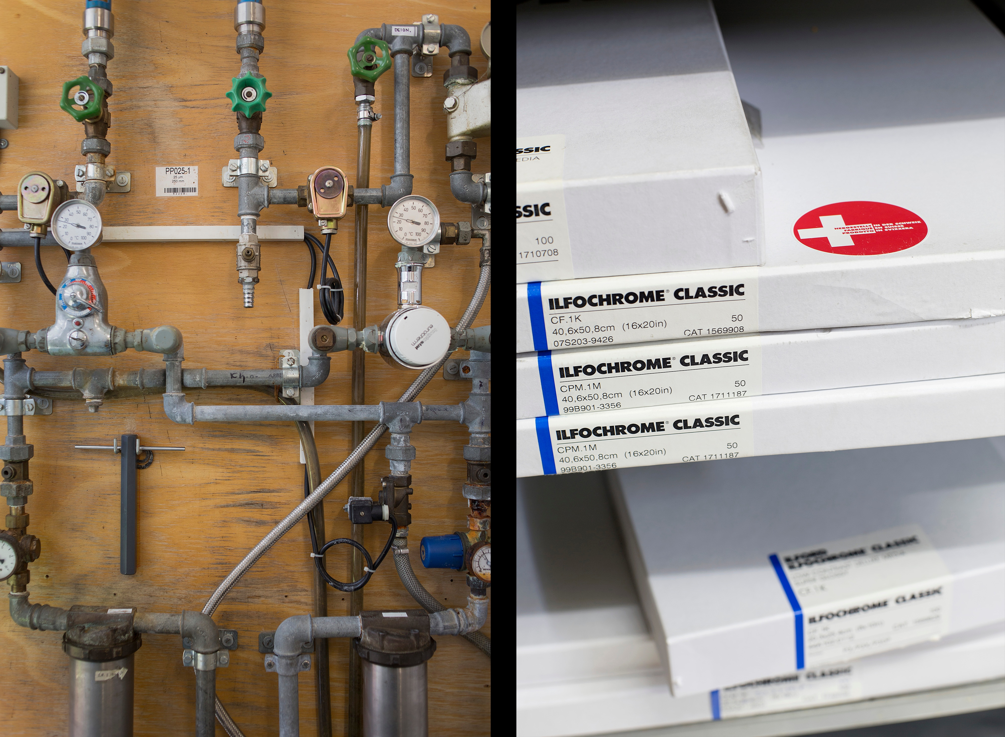 "The pipes that feed the system that develops photos the pre-digital way. Boxes of paper labelled ""Made in Switzerland"" are familiar to fans of traditional photography."