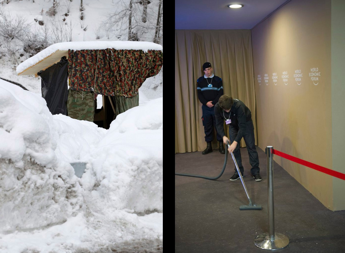 A snowed-in military checkpoint (left) and a worker vacuuming the ground on the first day of the 42nd annual meeting in 2012.