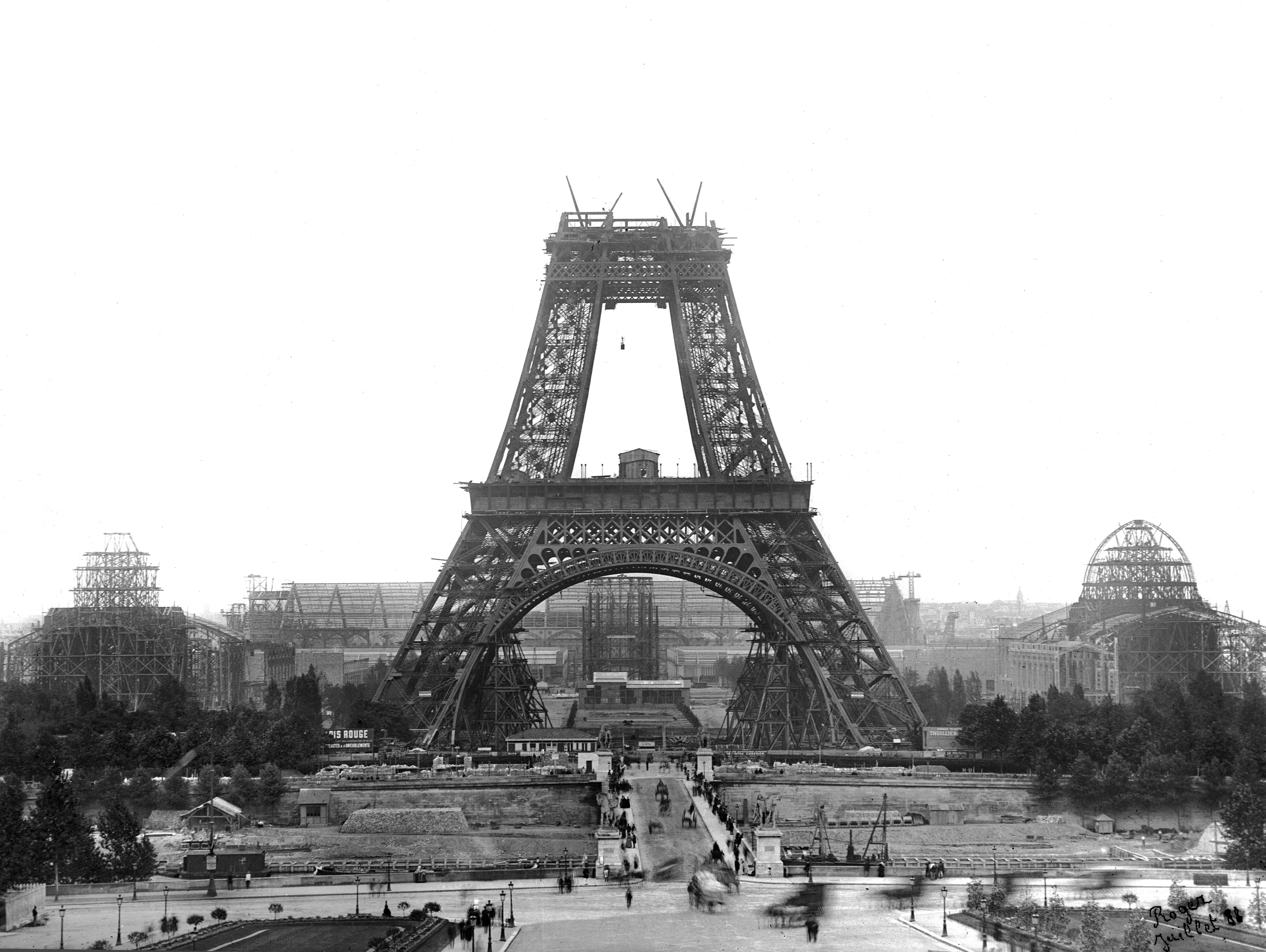 The Eiffel Tower building site in 1888, the year before France's second Universal Expo. It is hard to think of Paris without the tower, which was, until 1930, the tallest building worldwide.