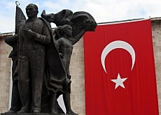 A statue in Ankara of Atatürk, the founder of modern Turkey
