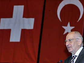 Pascal Couchepin during a ceremony marking the 80th anniversary of the Swiss embassy in Turkey