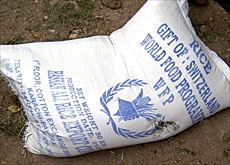 One of the sacks of rice donated by Switzerland (swissinfo)