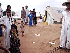Displaced Yemenis at a camp in the northern province of Saada