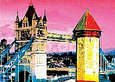 London's Tower Bridge linking up with Lucerne's Chapel Bridge - the cover of Stefan Howald's book (Verlag NZZ, Zürich)