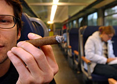 Smokers have no need to pause for breath when travelling by train