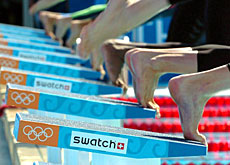 The Swatch logo as seen from the starting blocks at the Athens Olympics
