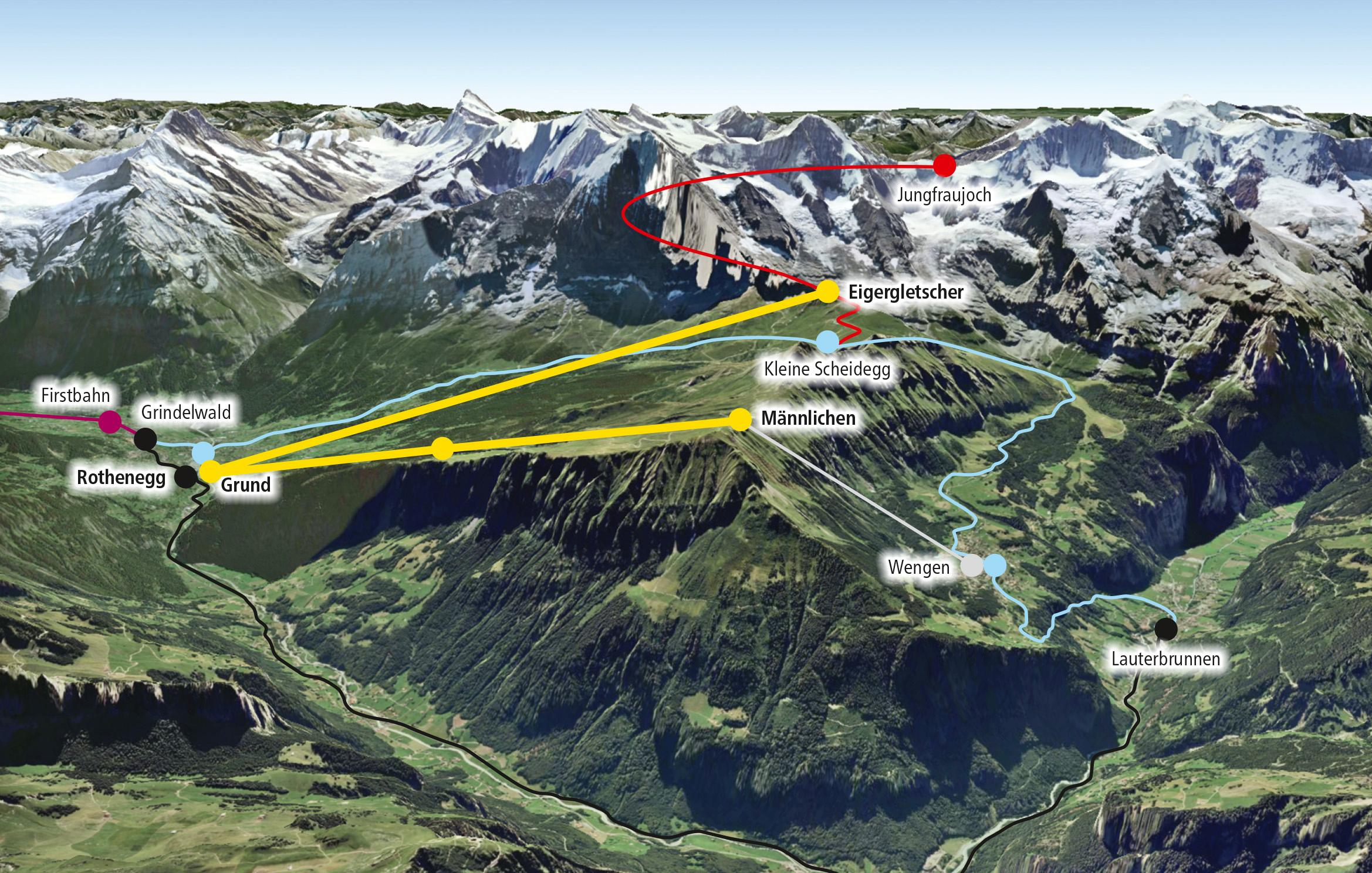 The yellow lines show the proposed new cable car route to Eigergletscher and the improved route to Männlichen, the blue lines are existing railway routes and the red line is the railway to the Jungfraujoch