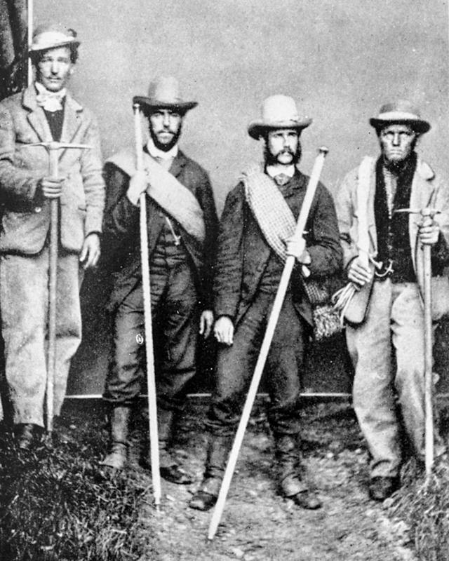 Peter Taugwalder Jnr., left, and Peter Taugwalder Snr., right with clients before climbing the Mont Blanc in 1866
