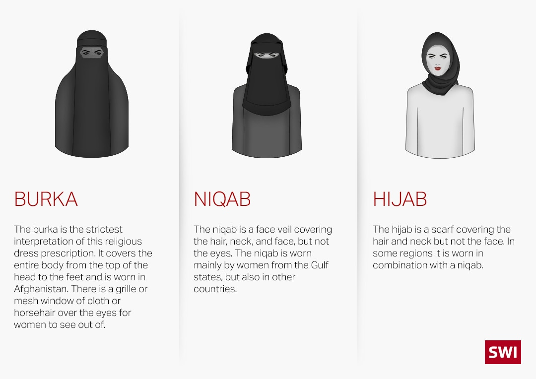 description and graphic of burka, niqab, hijab