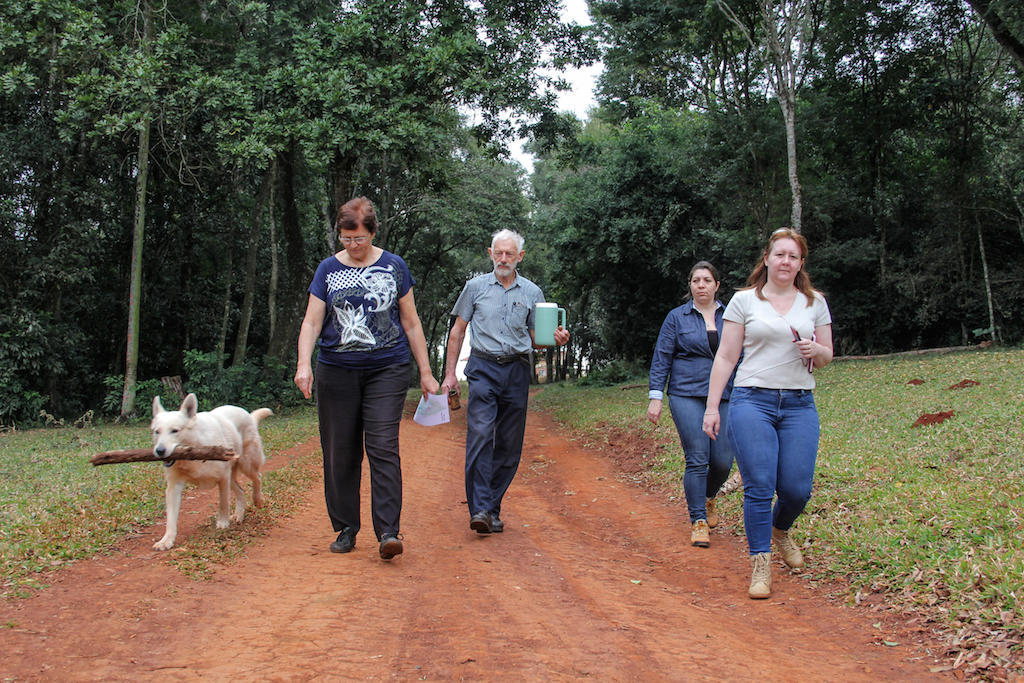 Escorting a pair of ecotourists on a walk