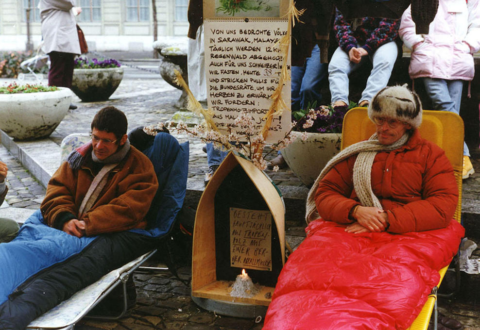 Pictured in Bern in April 1993, Bruno Manser and Martin Vosseler went on a hunger strike to call for a Swiss embargo on tropical wood products.