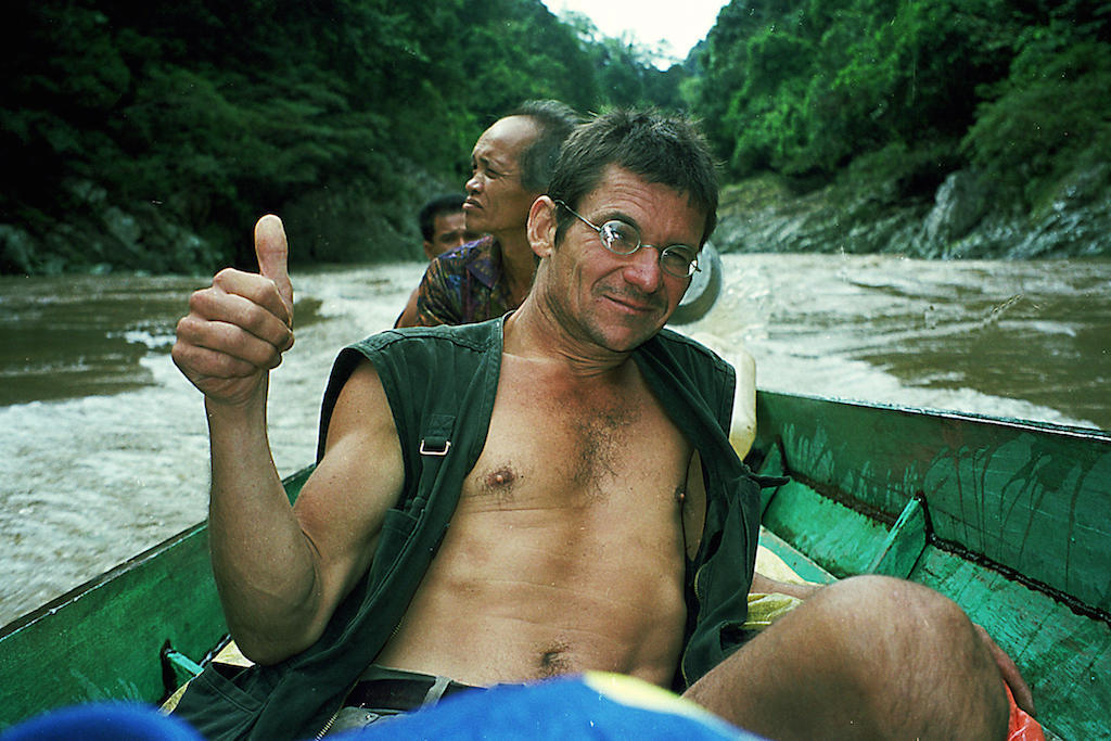 Bruno Manser pictured in Sarawak in May 2000, shortly before his disappearance