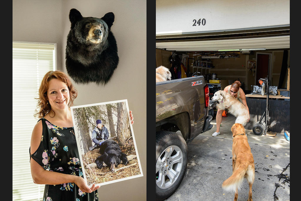 Silvia hunted down this black bear in Beluga about a decade ago. Today, the three Golden Retrievers are her best friends.