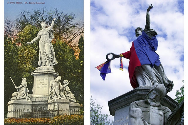 An old postcard of the St Jakob memorial in Basel (left). In 2002 Basel football fans covered the statue with the red and blue flags of the champions, FC Basel.