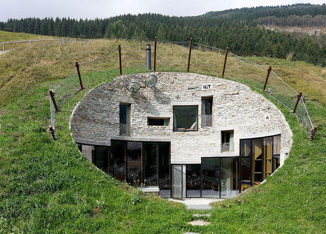 Villa Vals is built into a slope.
