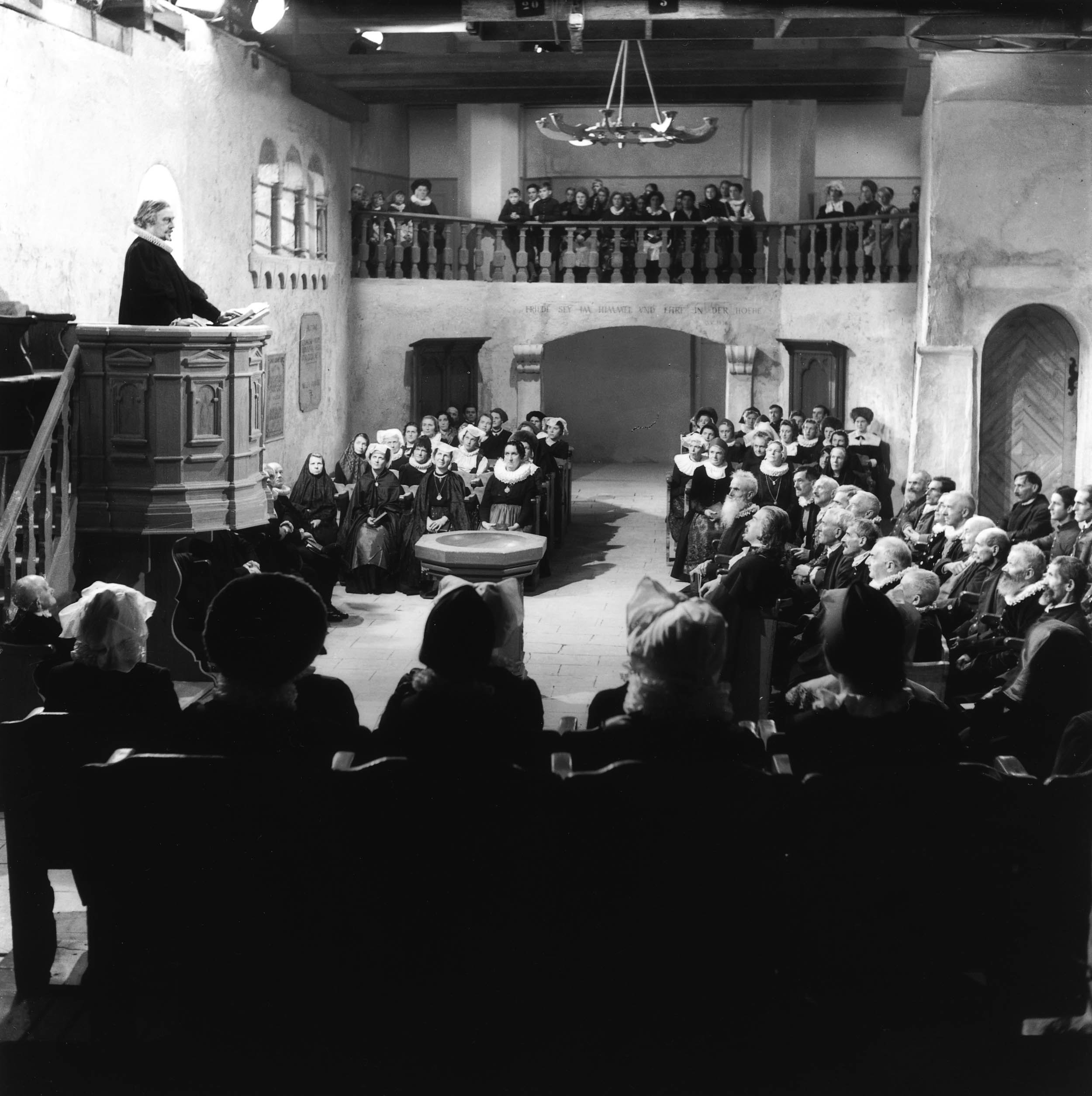 "Protestant religious ceremonies are often less spectacular than those of their Catholic counterparts, as shown in the 1942 Swiss film ""The shot from the pulpit."" (RDB)"