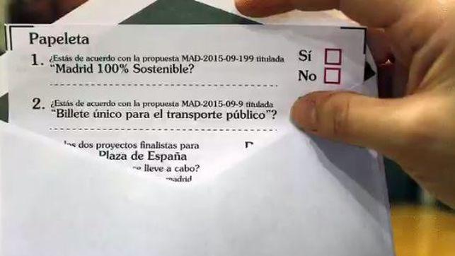 Papeleta de consulta ciudadana del Ayuntamiento de Madrid.