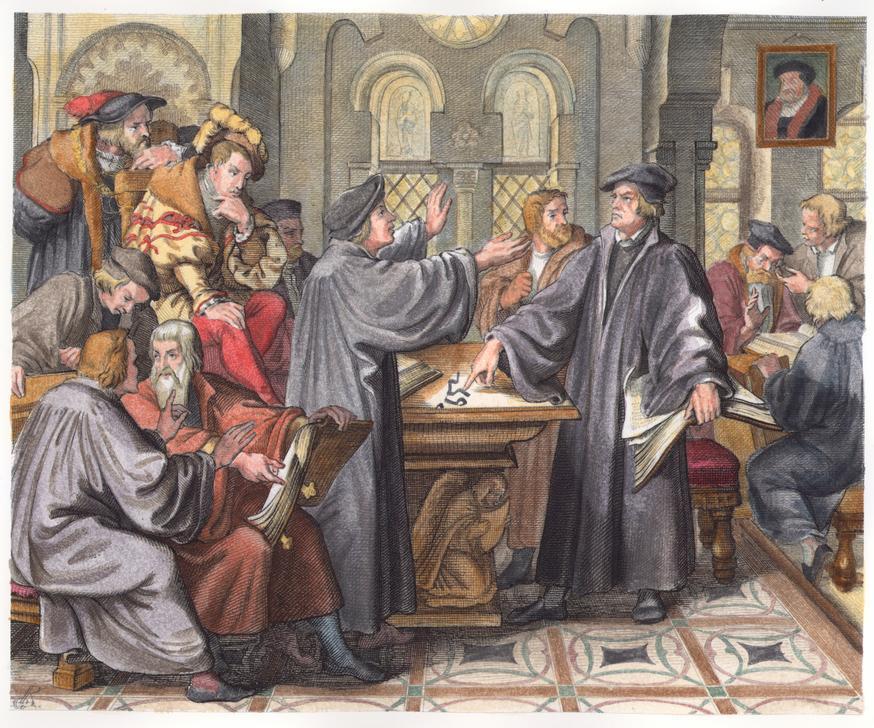 رسم يُجسّد الخلاف بين لوثر وزفينغلي