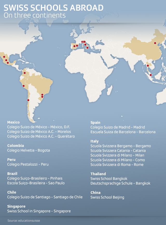 Map showing where Swiss schools located around the world