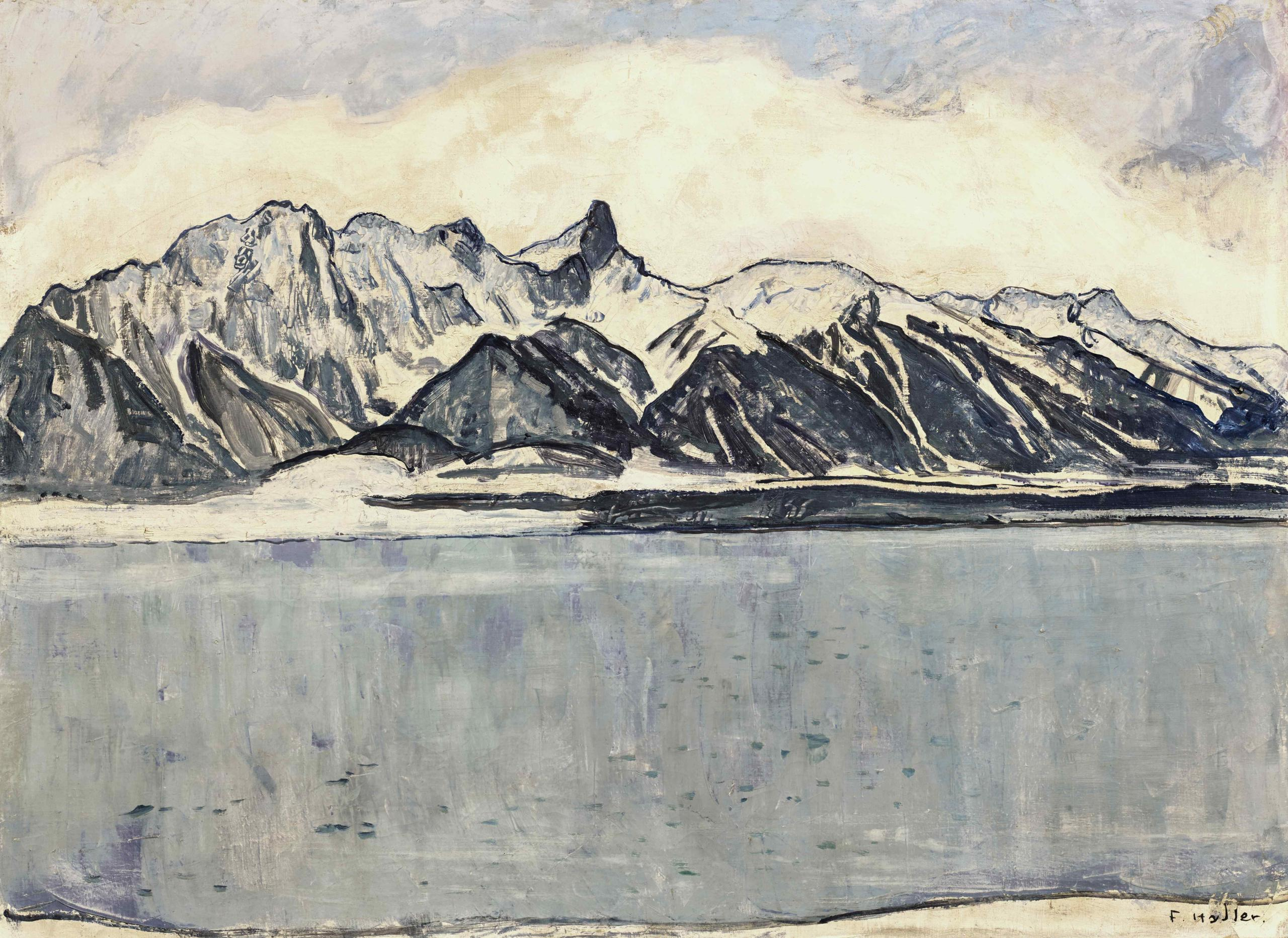 Hodler painting depicting a lake and mountains