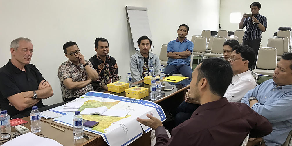 A meeting of pro-democracy supporters in Yogjakarta; Bruno Kaufmann (left) looks sceptical